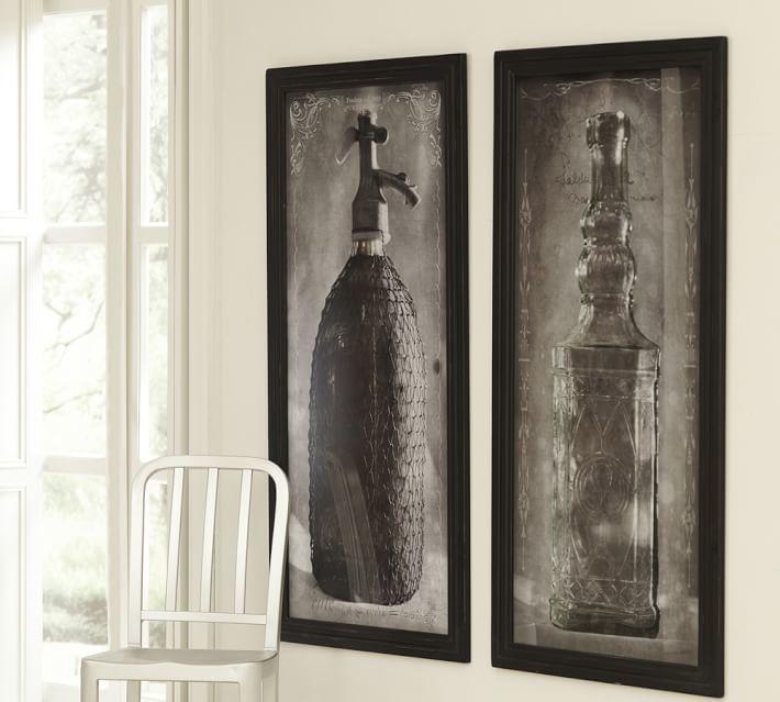 Pottery Barn Framed Vintage Bottles Wall Art