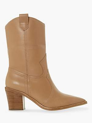 Dune Priotry Western Pointed Toe Heleed Calf Boots