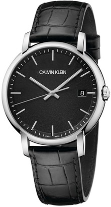 Calvin Klein Established Black Dial Leather Watch