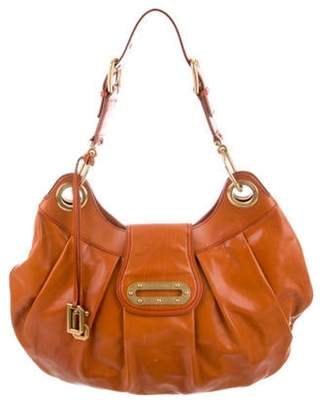 Dolce & Gabbana Ruched Leather Hobo Orange Ruched Leather Hobo