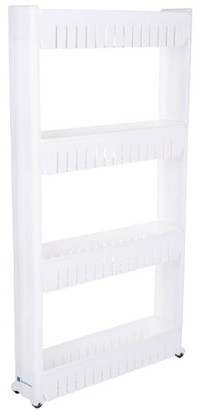 Lavish Mobile Shelving Unit Organizer with 4 Large Storage Baskets, Slim Slide Out Pantry Storage Rack for Narrow Spaces by Everyday Home
