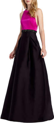 ML Monique Lhuillier High-Neck Belted Colorblock Gown