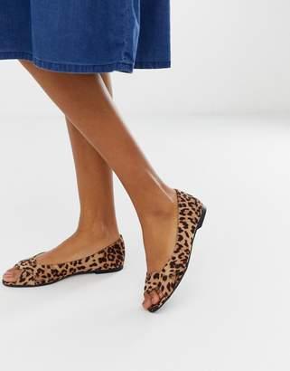 PeepToe Asos Design ASOS DESIGN Leadership ballet flats in leopard