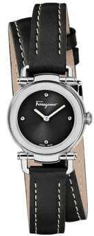 Salvatore Ferragamo Casual Stainless Steel Double Wrap Leather-Strap Watch