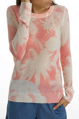 White + Warren Cashmere Palm-Print Crewneck