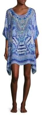 Camilla Feather Print Caftan Dress