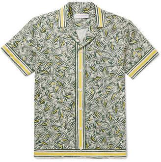 Orlebar Brown Travis Slim-fit Camp-collar Printed Cotton And Linen-blend Shirt - Green