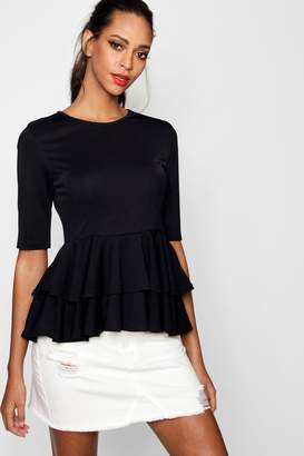 boohoo Hallie Peplum Shell Top
