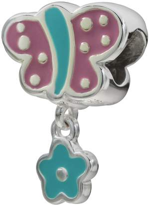 Individuality Beads Sterling Silver Butterfly & Flower Charm