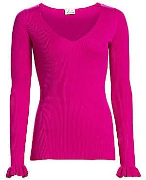 Tanya Taylor Women's Leanne V-Neck Rib-Knit Merino Wool Sweater