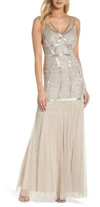 Adrianna Papell Beaded Sleeveless Mermaid Gown