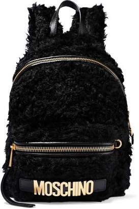 Moschino Leather-Trimmed Faux Shearling Backpack