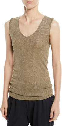 Brunello Cucinelli Scoop-Neck Metallic Knit Tank