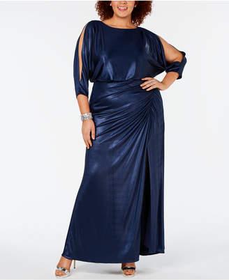 Adrianna Papell Plus Size Draped Metallic Gown