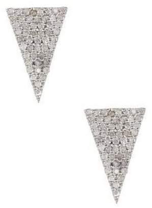 14K Gold Triangle Shape Studs Earring with Diamonds