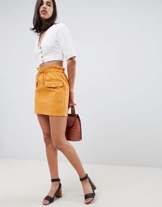 Asos Design DESIGN denim paperbag skirt in mustard