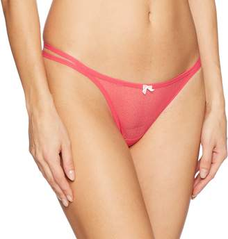 Betsey Johnson Women's Textured Mesh Double String Thong Panty