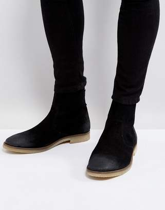 Asos Design Chelsea Boots In Black Suede With Back Zip Detail With Natural Sole