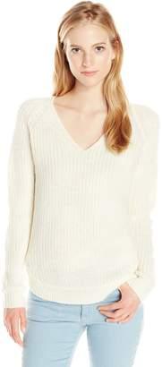 Derek Heart Junior's V Neck Raglan Long Sleeve Shaker Sweater with Curved Hem