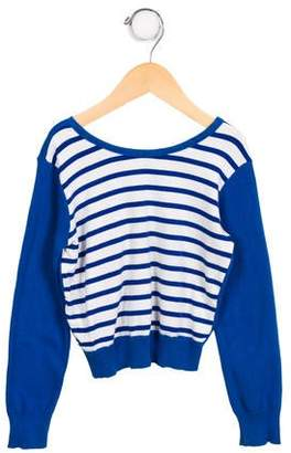 Junior Gaultier Girls' Striped Crew Neck Sweater