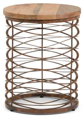 Simpli Home Miley Metal/Wood Accent Table