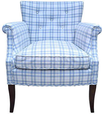 One Kings Lane Vintage Blue & White Button Tufted Armchair