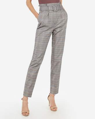 Express Super High Waisted Plaid Belted Ankle Pant
