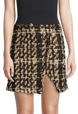 Faith Connexion Tweed Raw Edge Mini Skirt