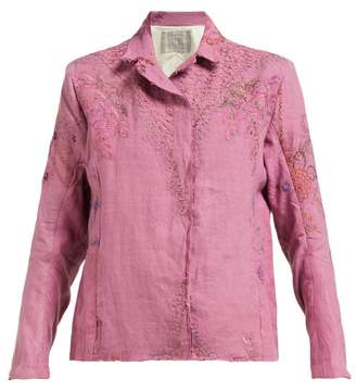 By Walid Haya 20th Century Embroidered Linen Jacket - Womens - Pink