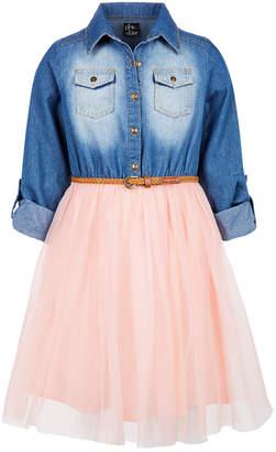Pink & Violet Big Girls Denim Mesh Skirt Dress