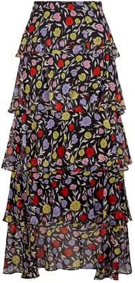 Olivia Rubin Silk Jessica Floral Print Maxi Skirt