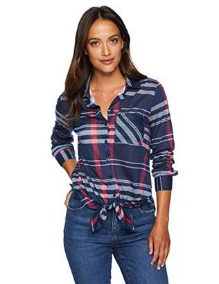 Caribbean Joe Women's Tie Front Detail Flannel Shirt Pocket