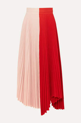 A.W.A.K.E. Mode Double Trouble Doric Pleated Two-tone Cady Midi Skirt - Red