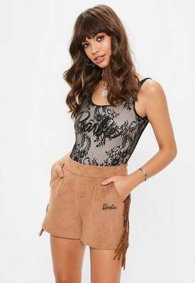 Missguided Barbie x Tan Faux Suede Fringed Shorts