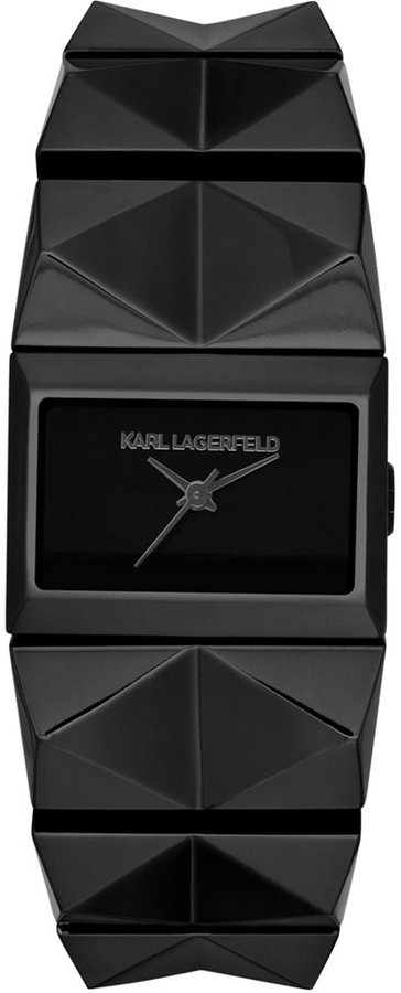 Karl Lagerfeld Women's Perspektive Black Ion-Plated Stainless Steel Pyramid Stud Bracelet Watch 20x27mm KL2601