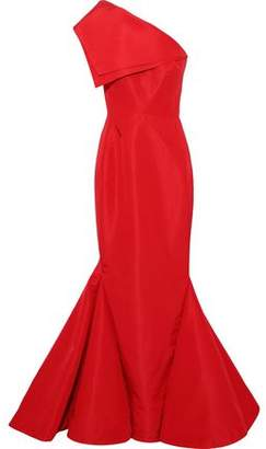 16d0086e9f98c Zac Posen One-shoulder Fluted Silk-faille Gown