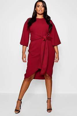 boohoo NEW Womens Plus Kimono Sleeve Wrap Over Midi Dress