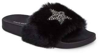 Steve Madden Shimmer Embellished Faux Fur Slide