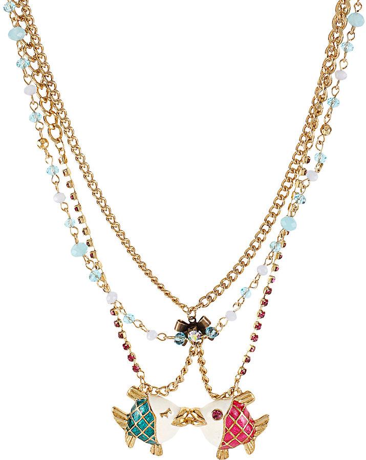 Betsey Johnson Sea Jewels Kissing Fish Necklace