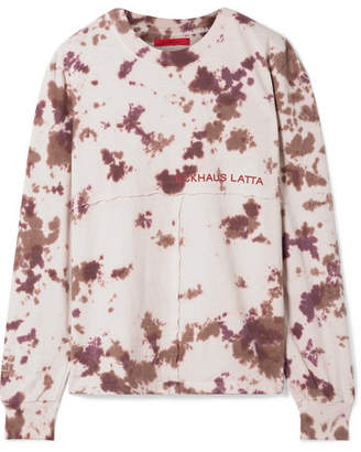 Eckhaus Latta Printed Tie-dyed Cotton-jersey Top - Beige
