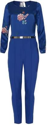 EGO SOLEIL - Floral Long Sleeve Jumpsuit in Blue