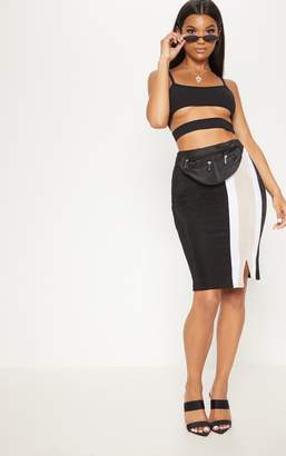 PrettyLittleThing Black Side Stripe Split Hem Detail Midi Skirt
