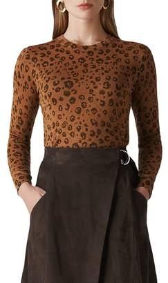 Whistles Cheetah-Print Sparkle Sweater