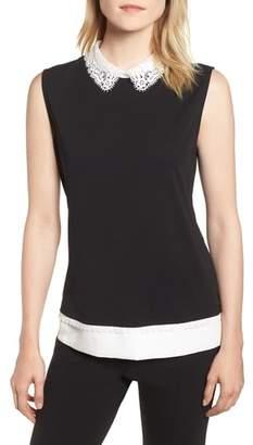 Karl Lagerfeld PARIS Lace Collar Knit Tank
