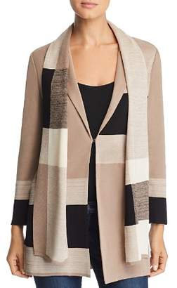 Misook Color Block Knit Blazer With Scarf