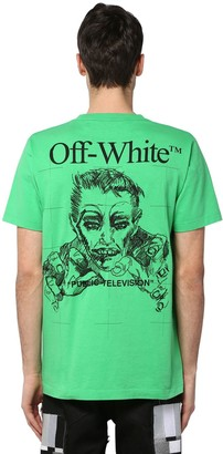 Off-White Off White Printed & Embroidered Cotton T-shirt