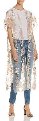 Billy T Embroidered Mesh Duster Kimono