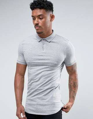 Asos DESIGN Extreme Muscle Polo In Jersey With Curved Hem In Gray Marl