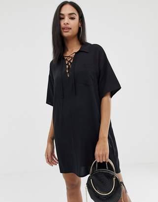 2bb72913531 Asos Design DESIGN chuck on mini shirt dress with lace up