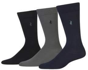 Polo Ralph Lauren Three-Pack Supersoft Flat Knit Socks Set